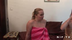 Chick blows two dudes and a tgirl